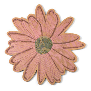 Dianne Longley, Dream of my love flower, 2010 digital wood engraving, oil paint, pokerwork, 38cm diameter.