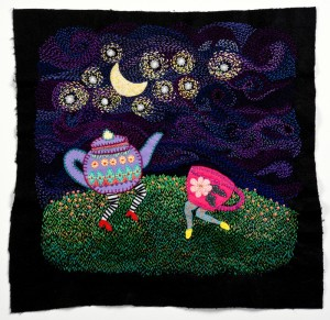 Louise Byrne, And they danced under the starry night, 2014, cotton thread on felt, 59 x 62cm (framed)